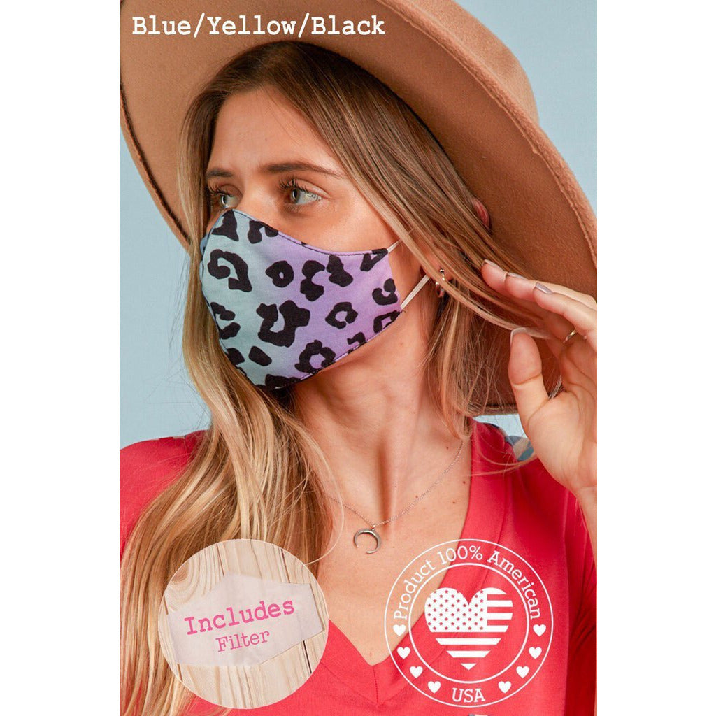 Face Mask with Filter Pocket Leopard Animal Print- Adult