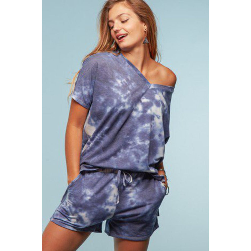 Navy Tie Dye French Terry Loungewear Top-M