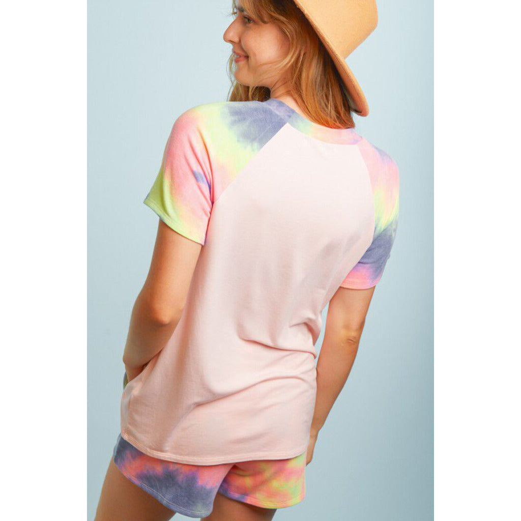 Blush, Blue, & Lime Tie Dye Round Neck Top-M