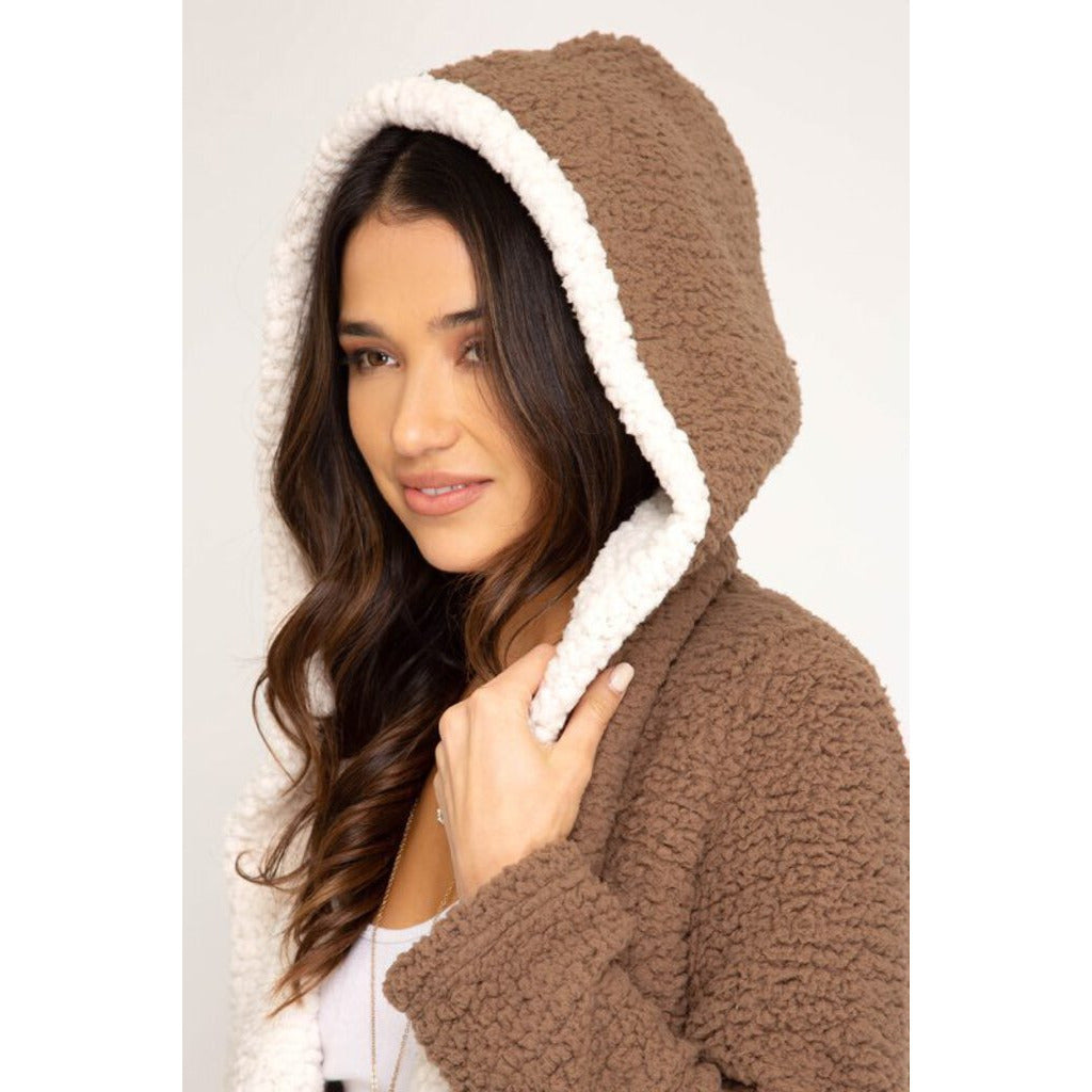 Long Sleeve Hooded Shearling Fleece Coat-Mocha