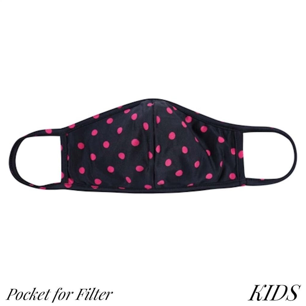 Face Mask-Navy with Pink Polkadots & Seam-Kids