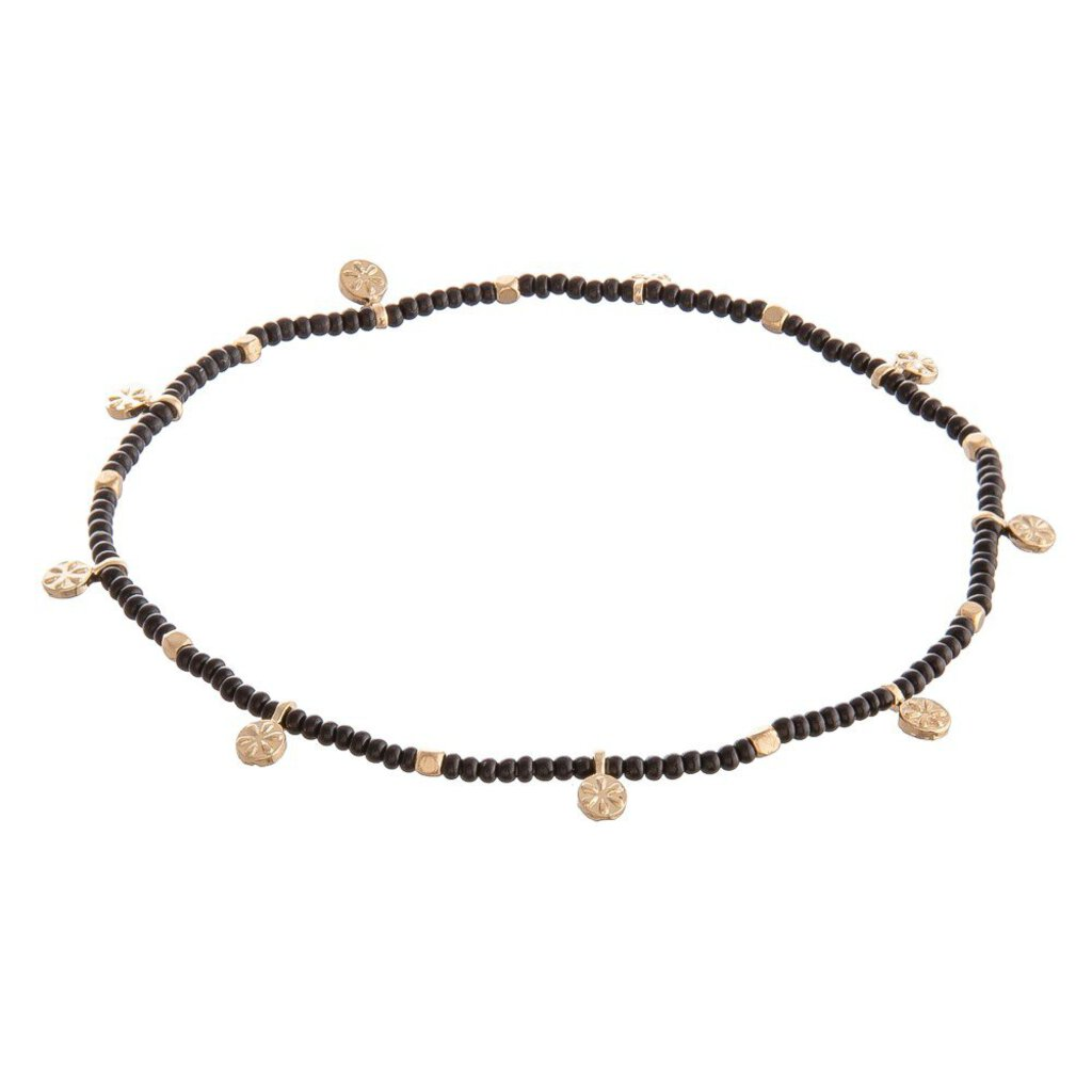 Black Seed Beaded Stretch Anklet