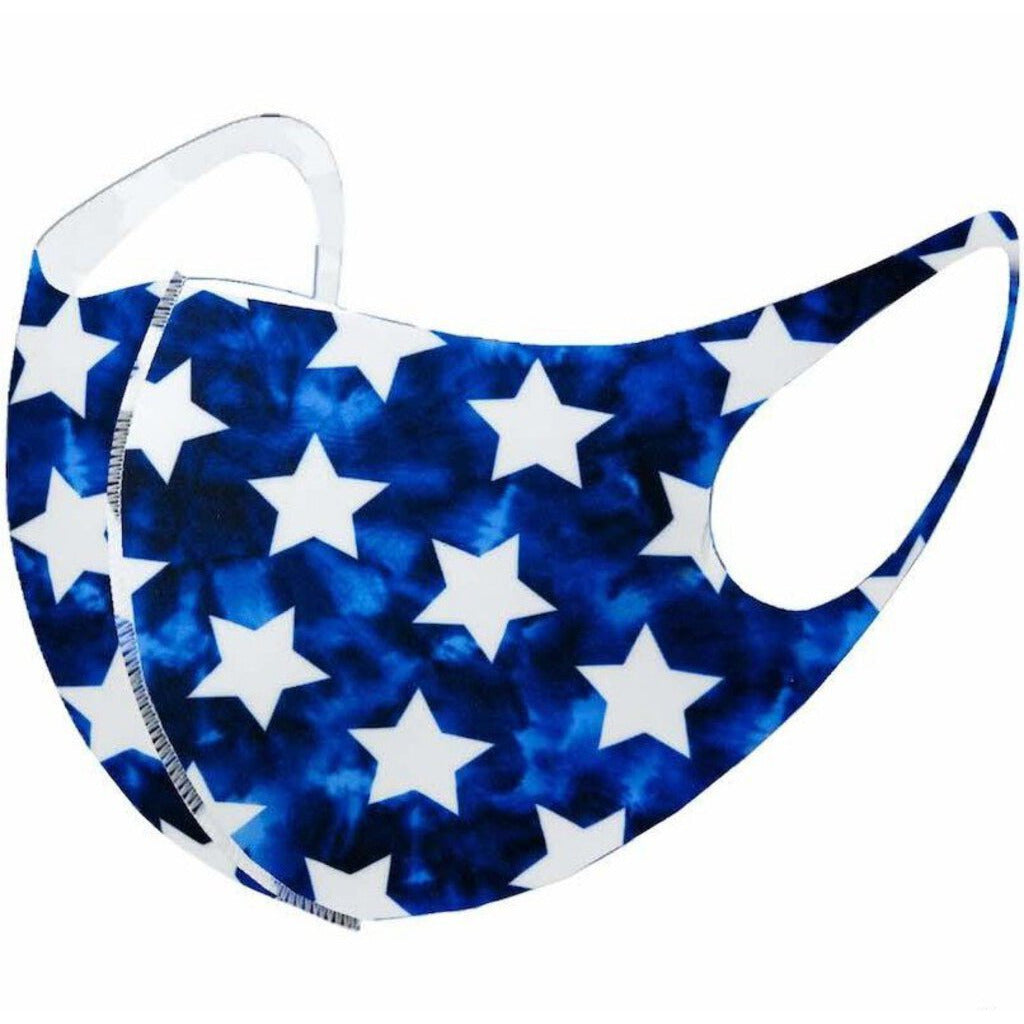 Face Mask-Blue with White Stars-3D Style-ADULT