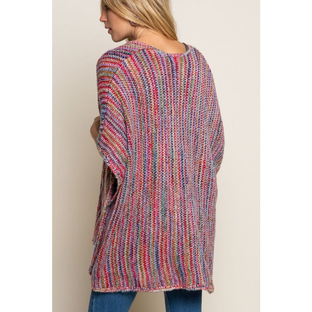 Red Rainbow Open Front Cardigan-S