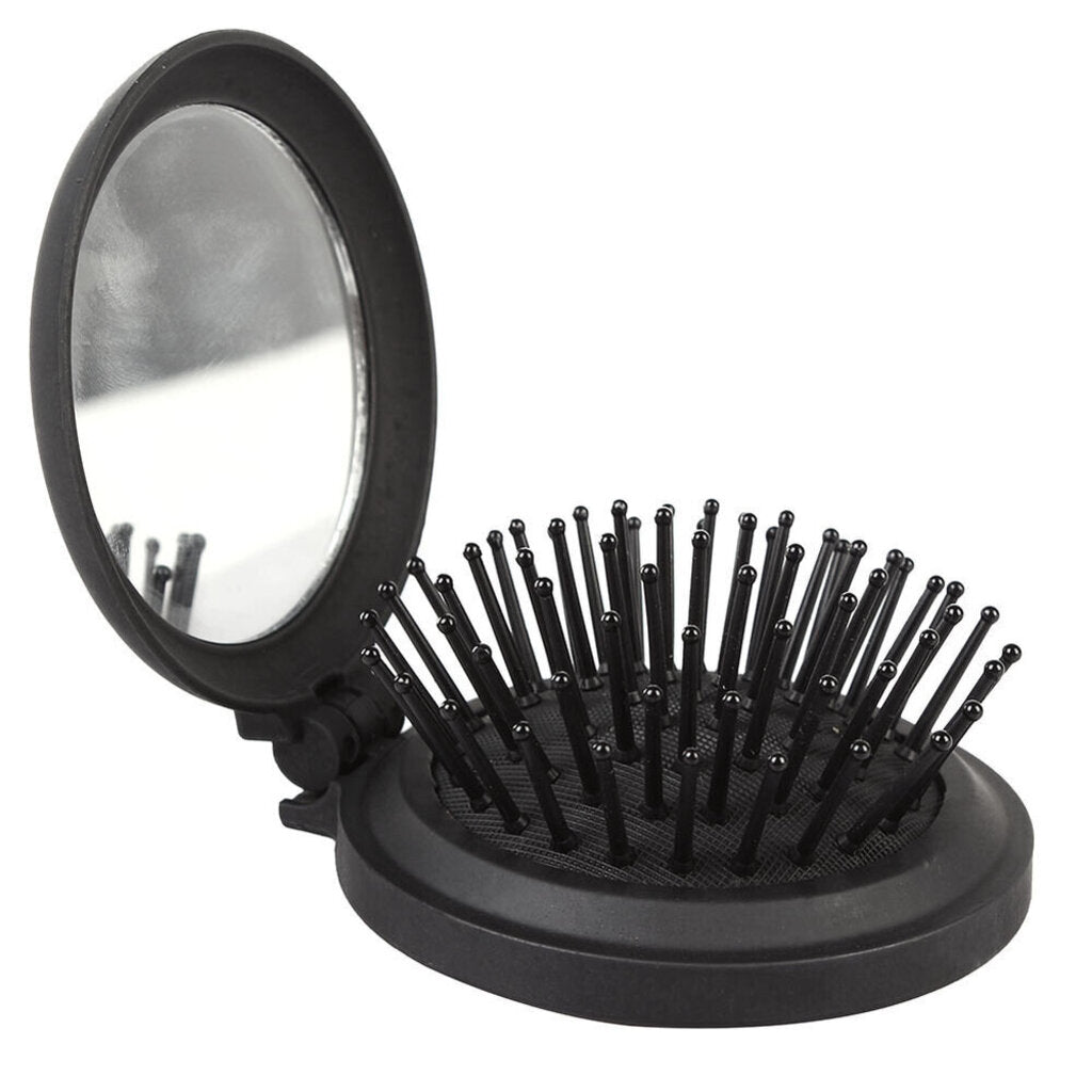 Folding Travel Hair Brush with Mirror