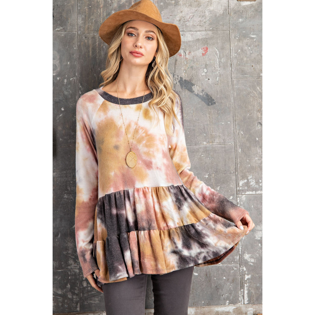 TIE DYE CASHMERE FEEL SOFT BABY DOLL TOP