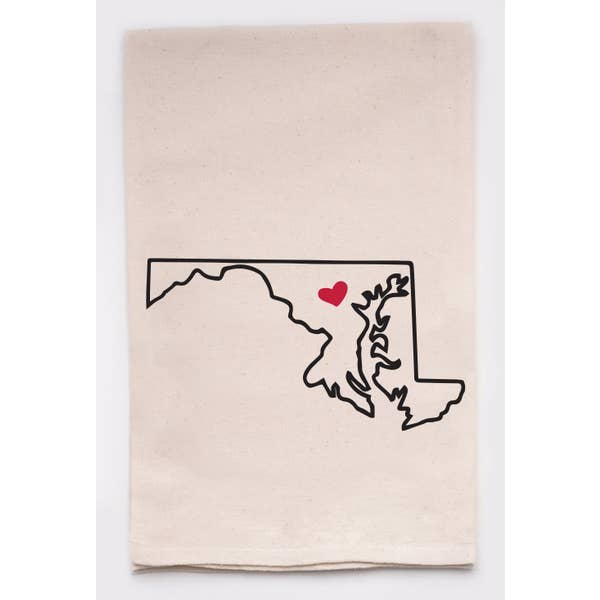Maryland Love My State Kitchen Tea Towel With Heart Pin