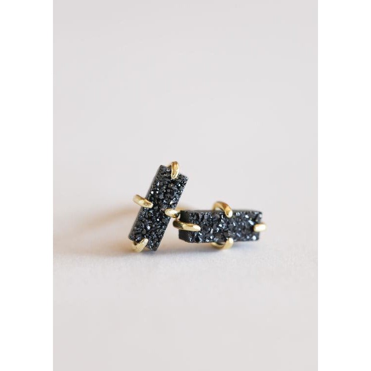 Druzy Bar Stud Earring