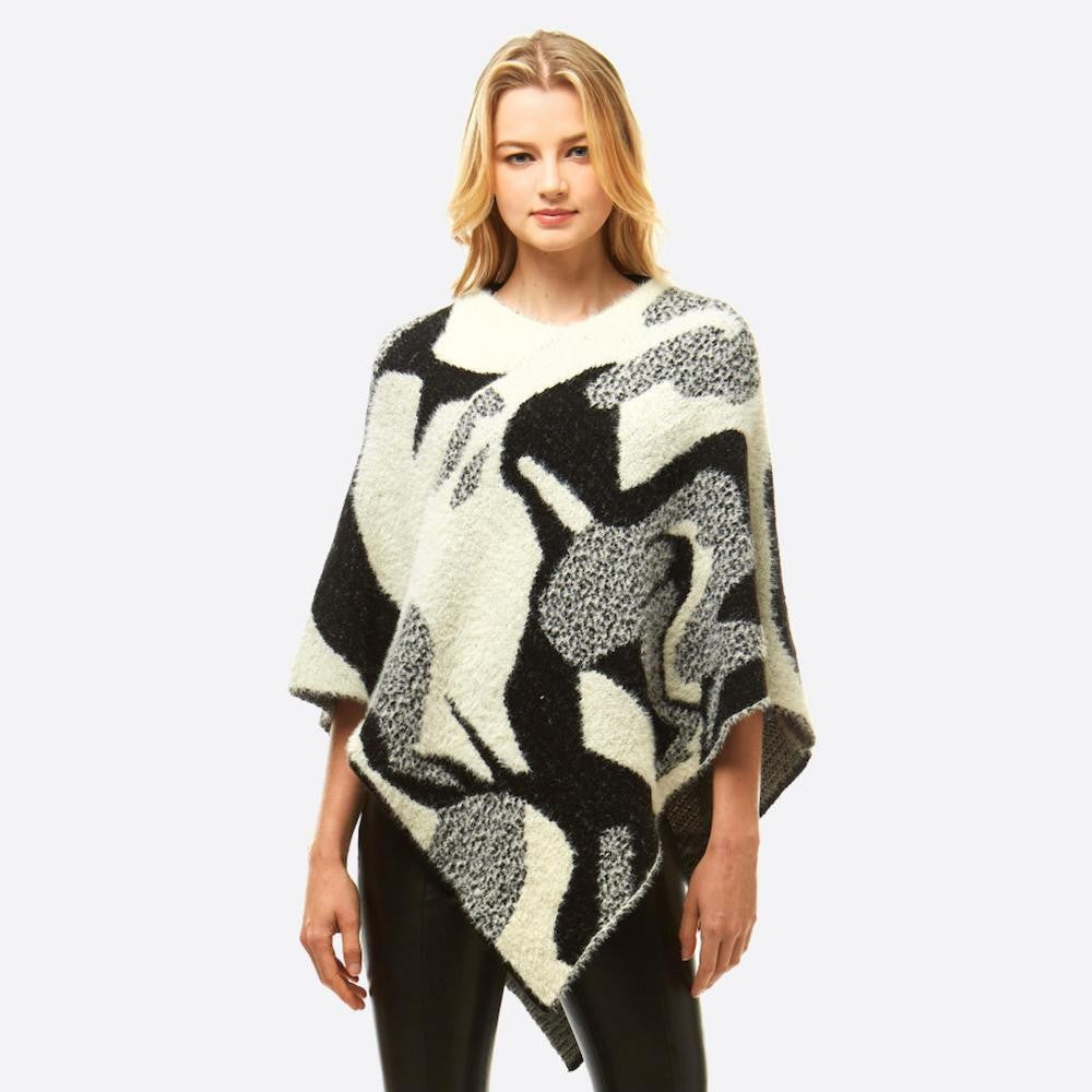 Abstract Chenille Knit Poncho