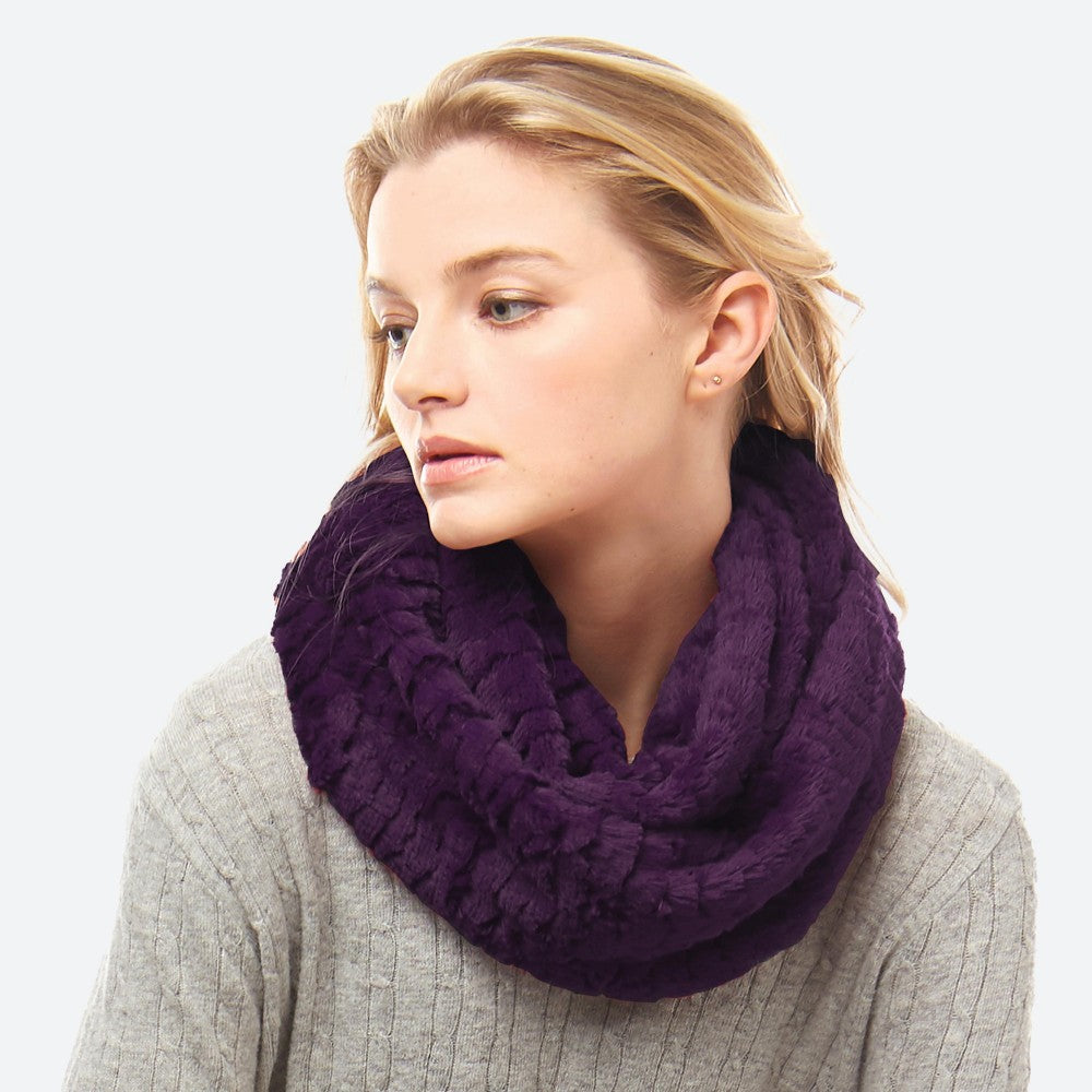 Purple Faux Fur Infinity Scarf
