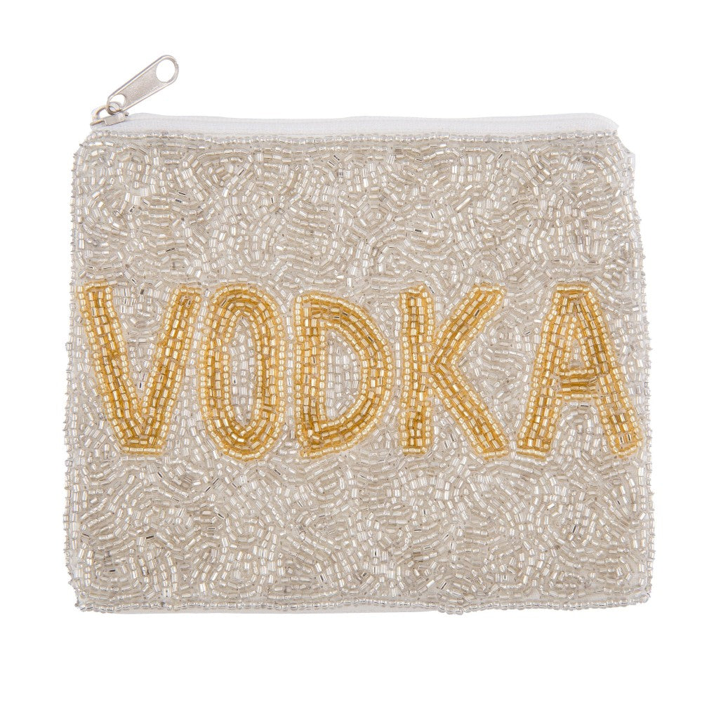 "Silver ""VODKA"" Seed Beaded Canvas Pouch"