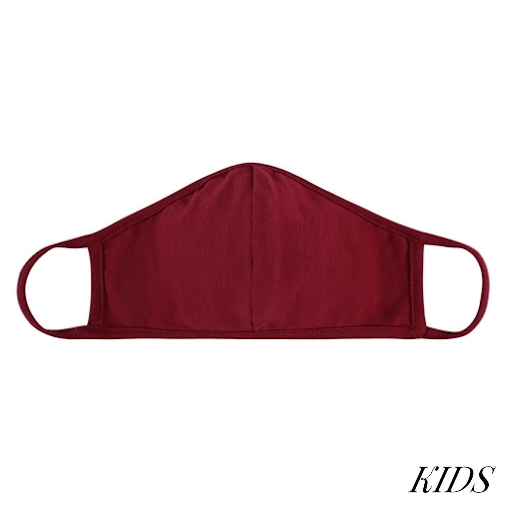 Face Mask-Maroon with Seam-Kids