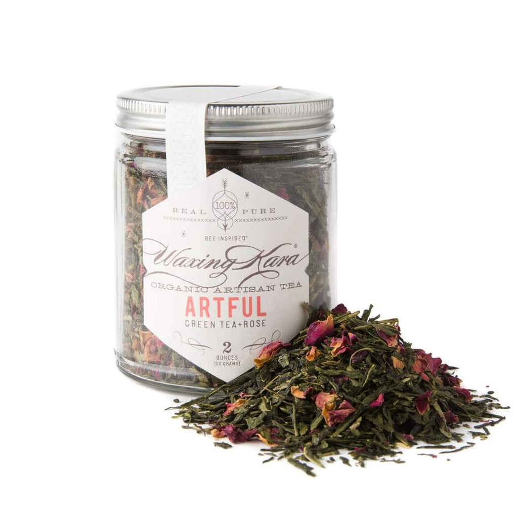 Artful Green Tea with Rose Petals