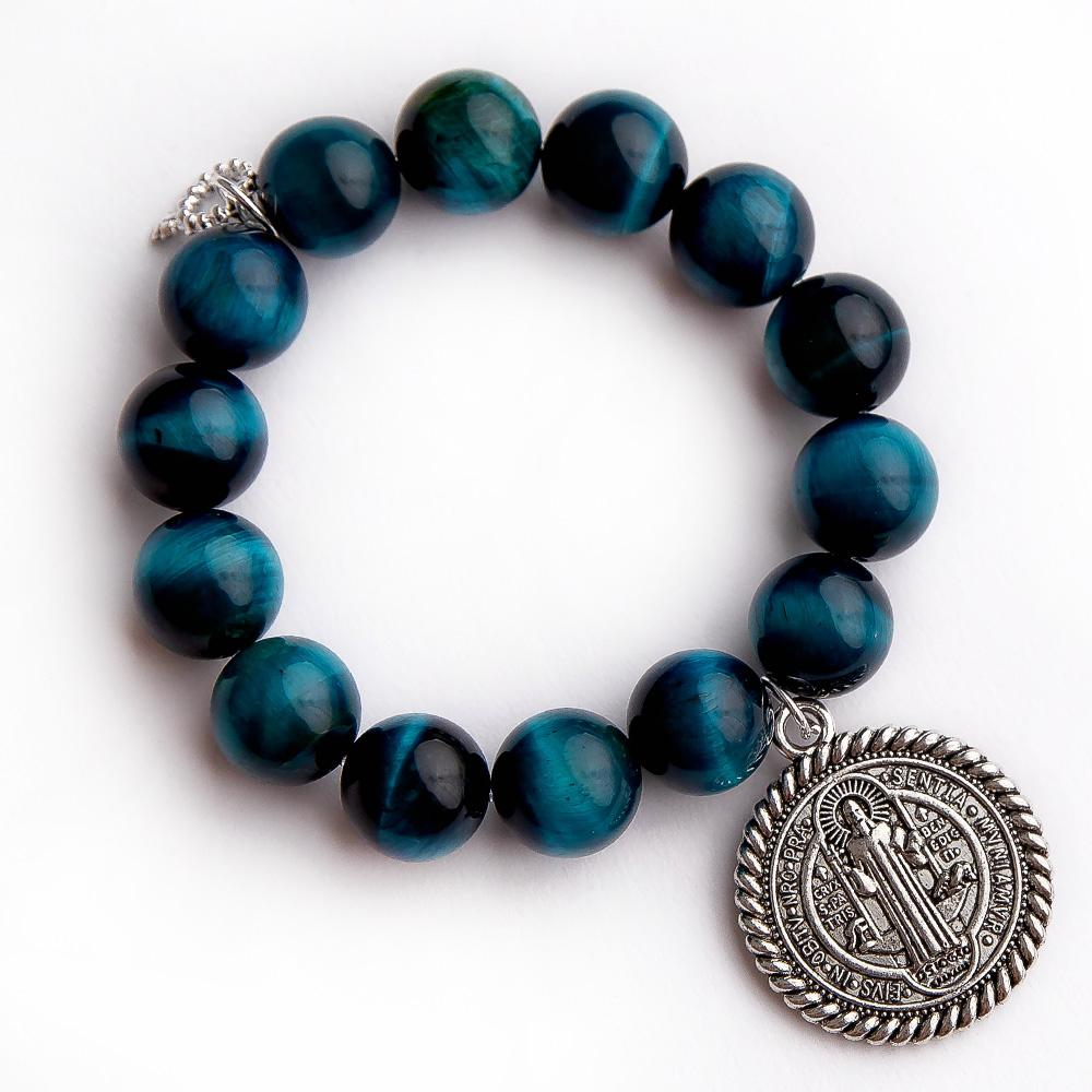 Bracelet with Braided St Benedict Powerbeads