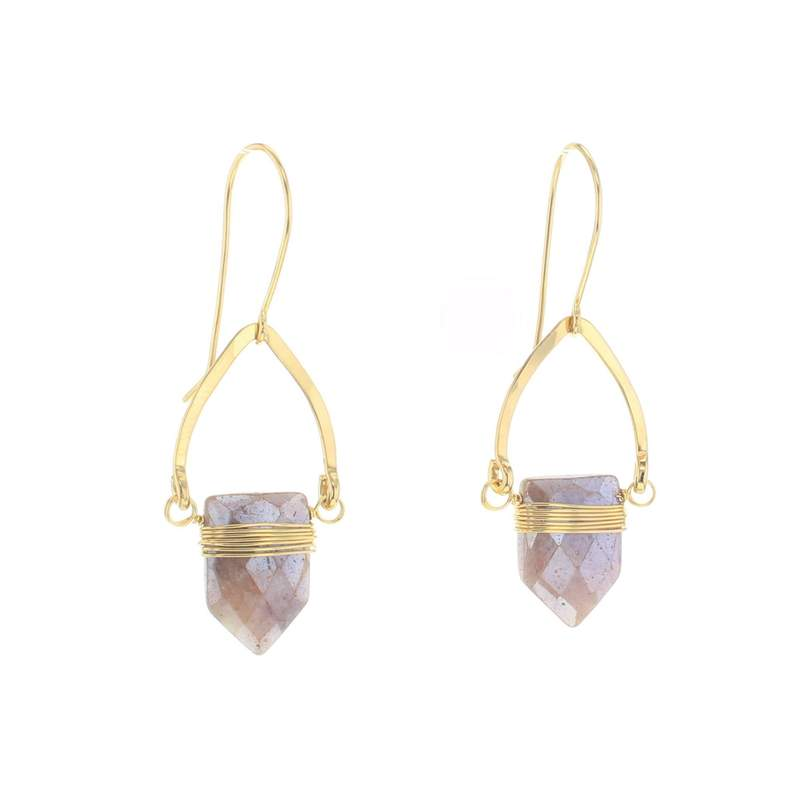 Lotus Gold Bygone Earrings with Agate