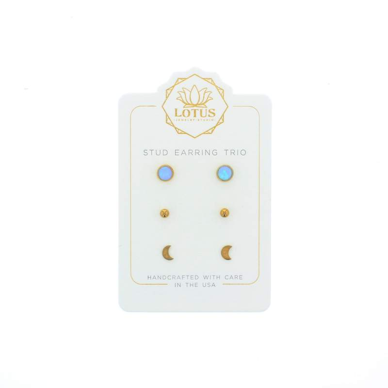 Lotus Gold Opal Stud Trio - Blue