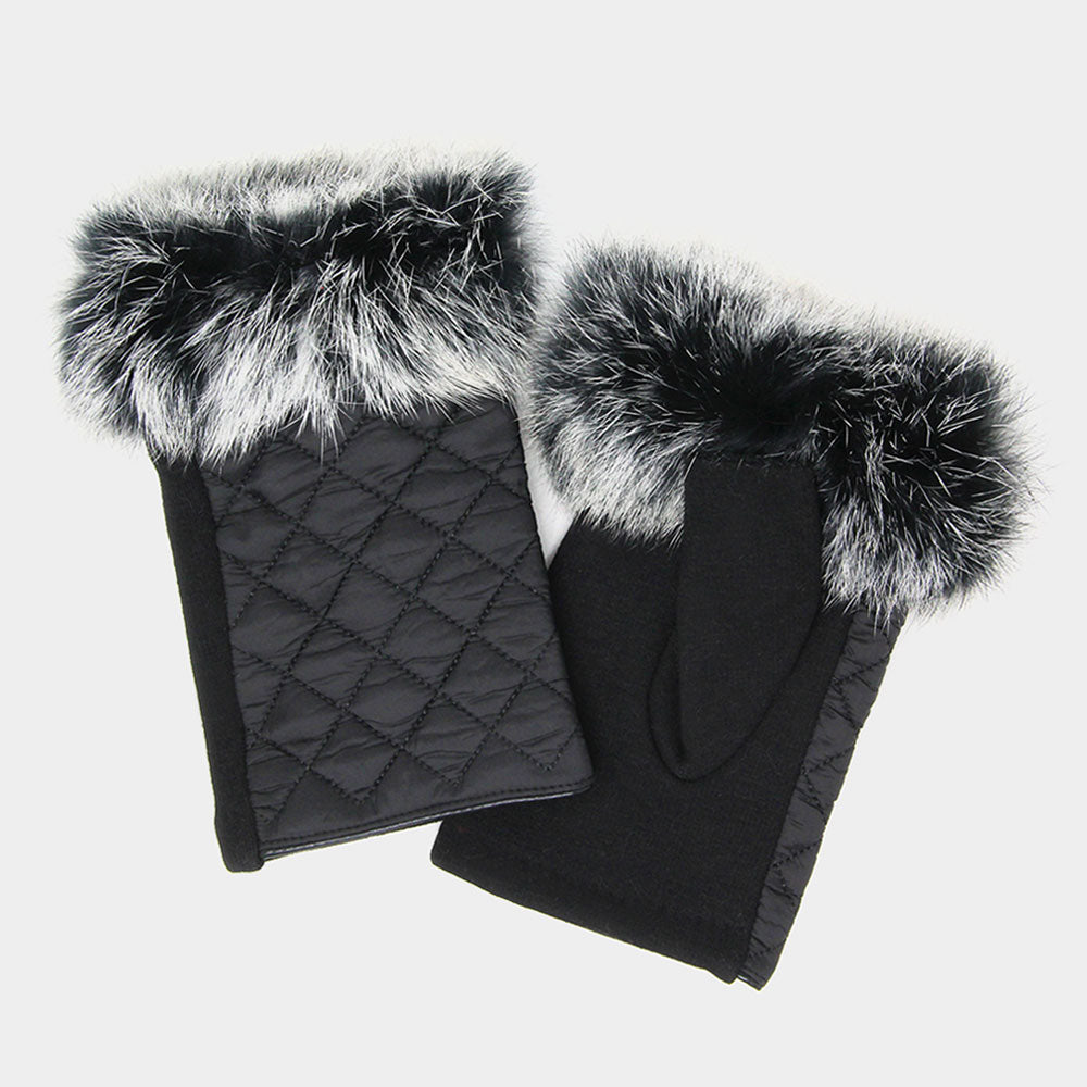 Quilted Fingerless Fur Gloves