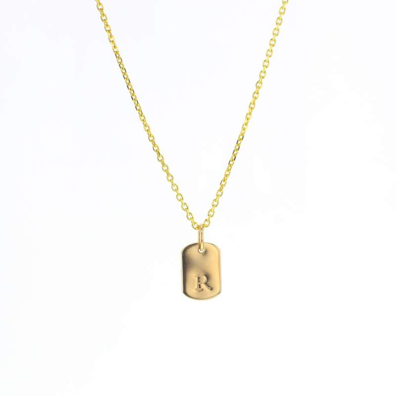 Lotus Dog Tag Initial Necklace