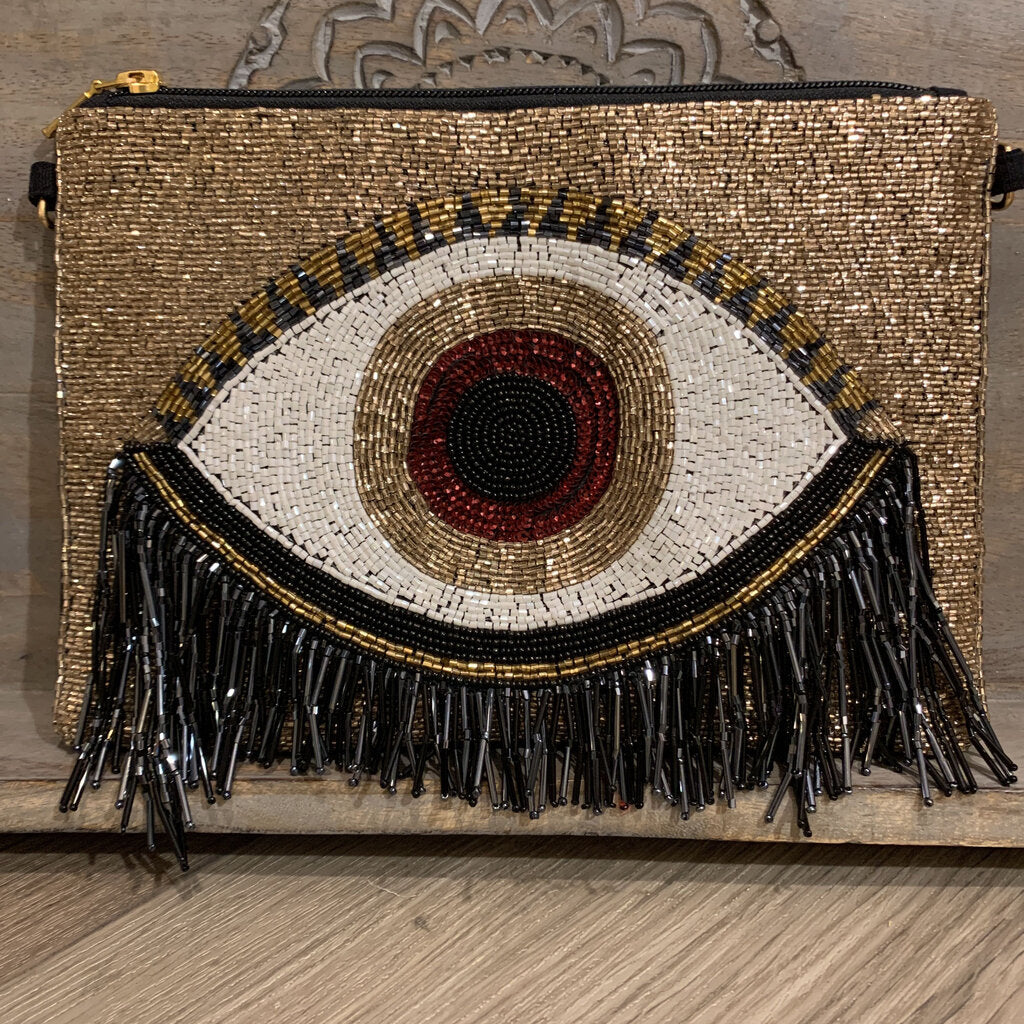 Beaded Rose Gold Evil Eye Clutch