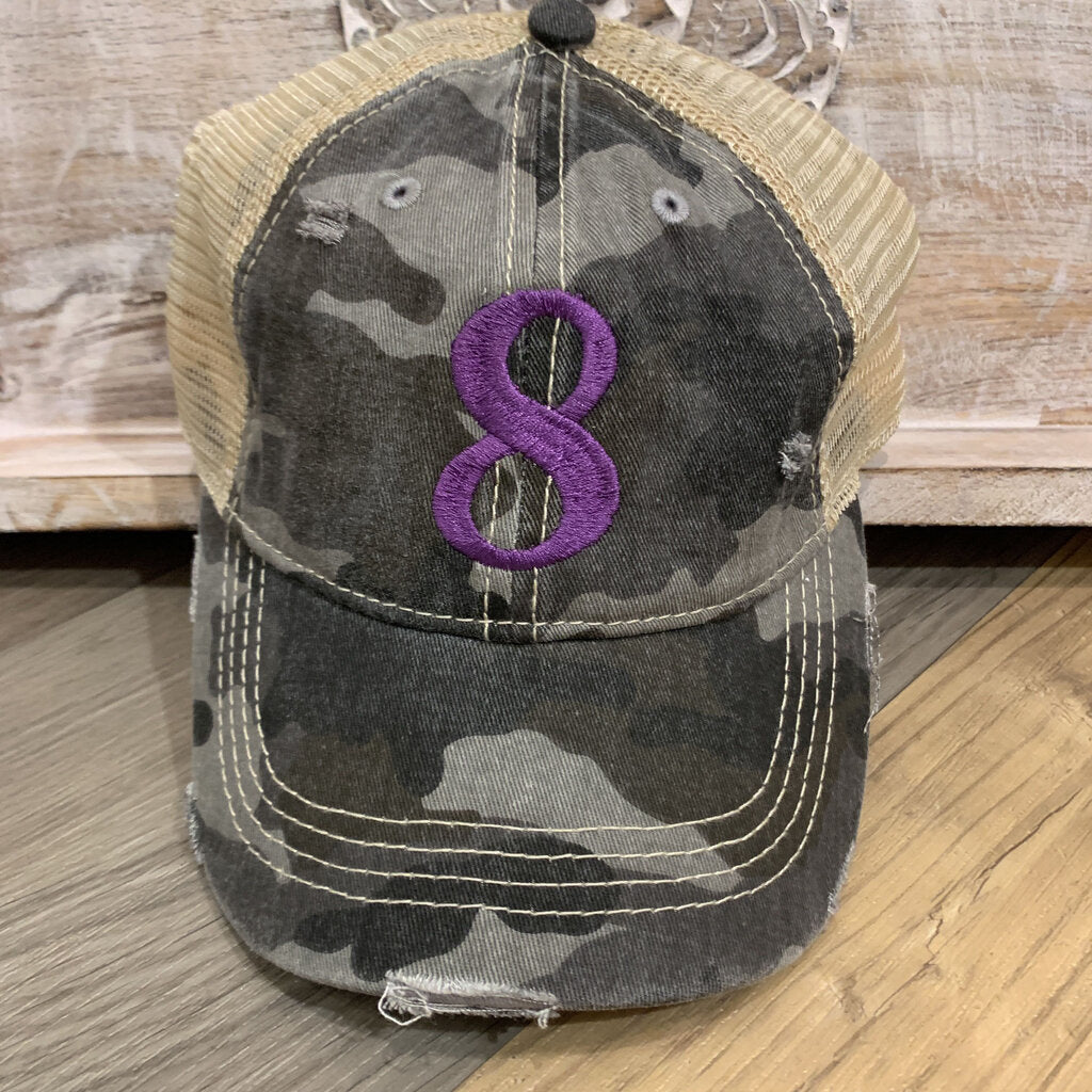 Camo #8 Embroidered  Trucker Hat with Mesh Back