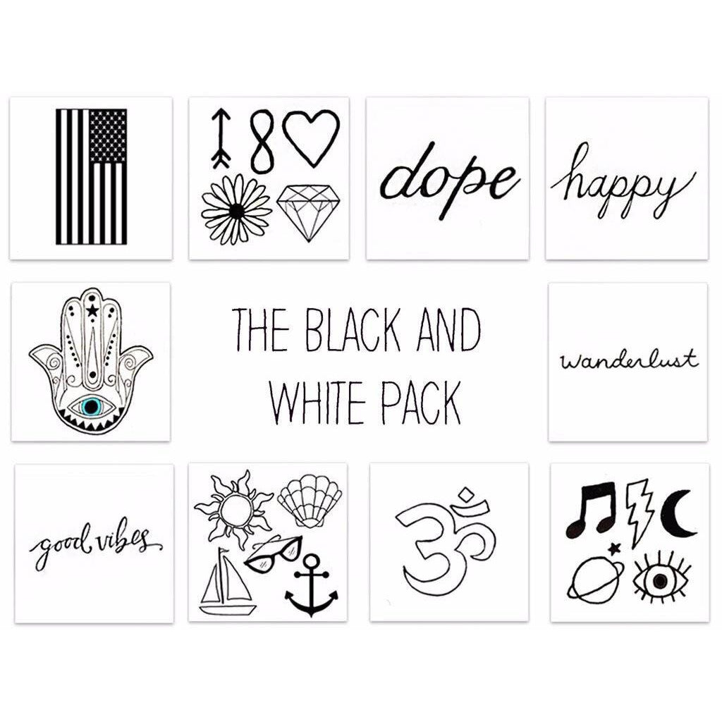 Inked by Dani Black and White Temporary Tattoos