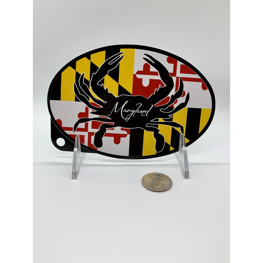 Oval Sticker MD Flag Silhouette Crab