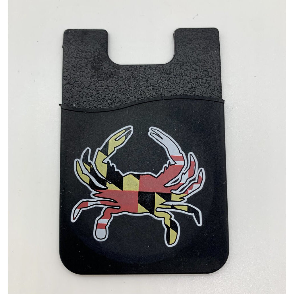 Black Silicon Phone Card Holder Crab Flag MD