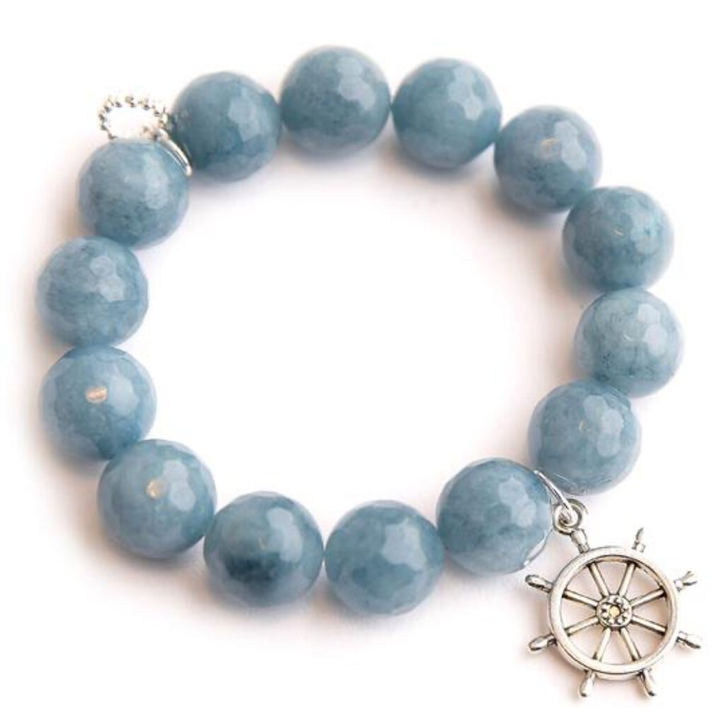 Powerbeads by Jen Lt. Blue Agate w/ Silver Ships Wheel Strength Courage Protection