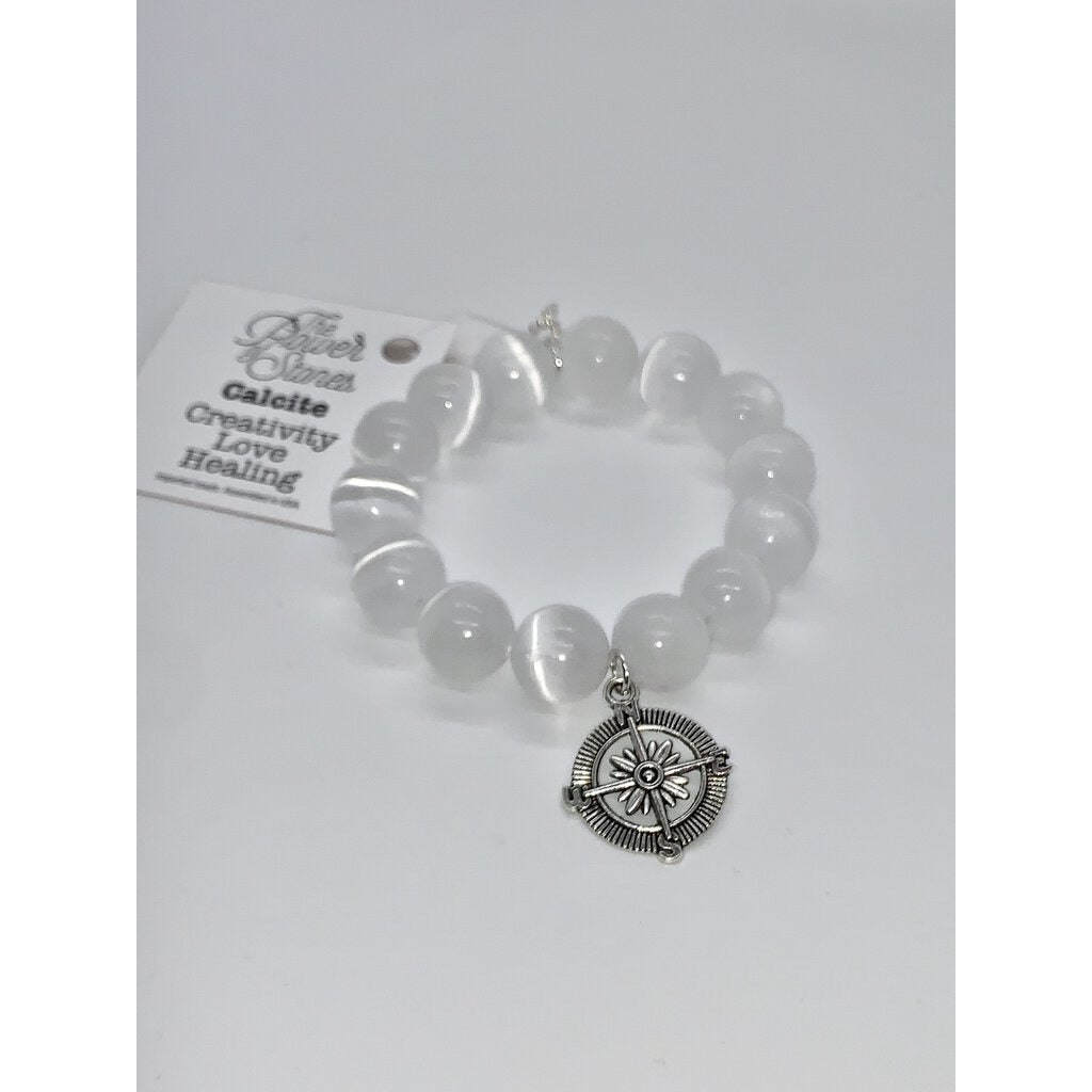 Powerbeads by Jen White Calcite w/silver compass Creativity Love Healing