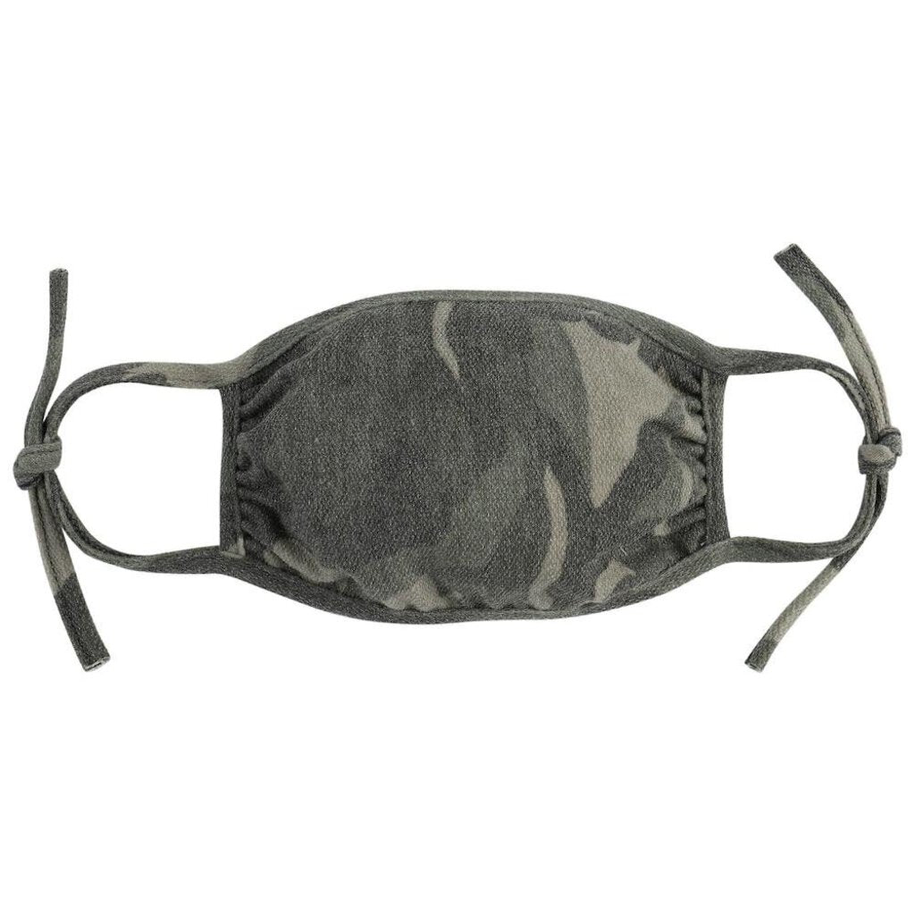 Face Mask-Green Camo-Tie Straps-ADULT