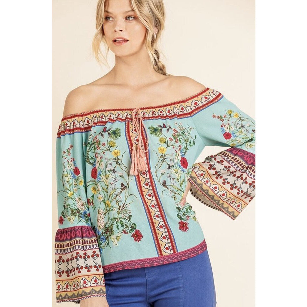 Off-Shoulder Floral Print Top with Bell Sleeves & Drawstring L