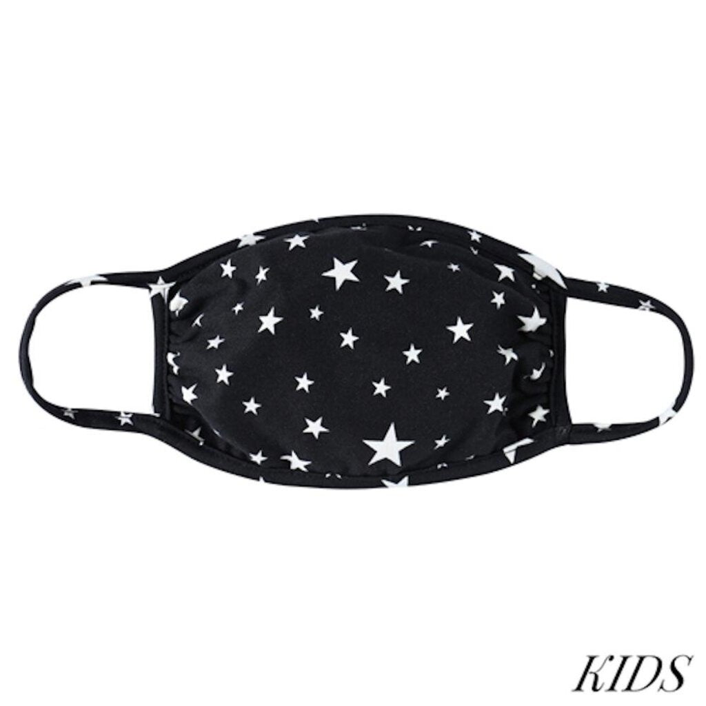 Face Mask-Black w/White Stars-KIDS
