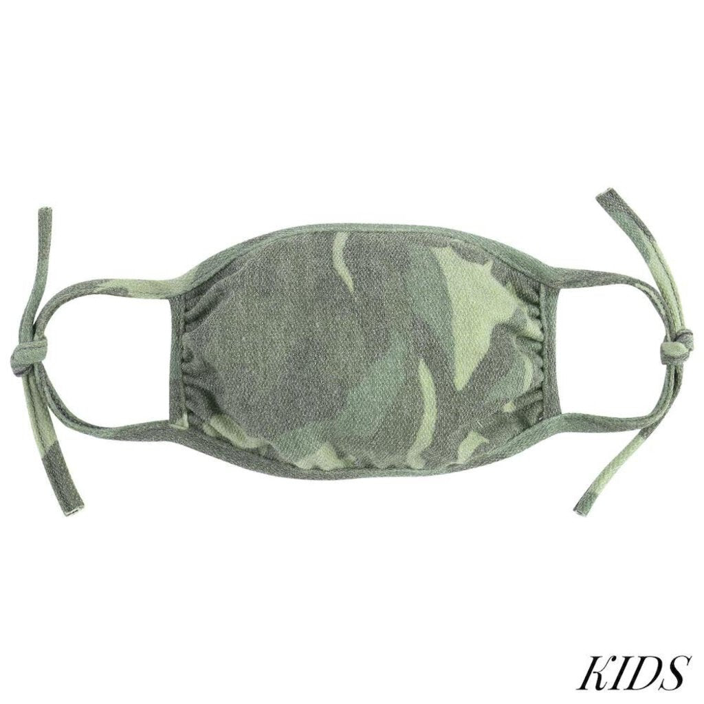 Face Mask-Green Camo w/Straps-KIDS