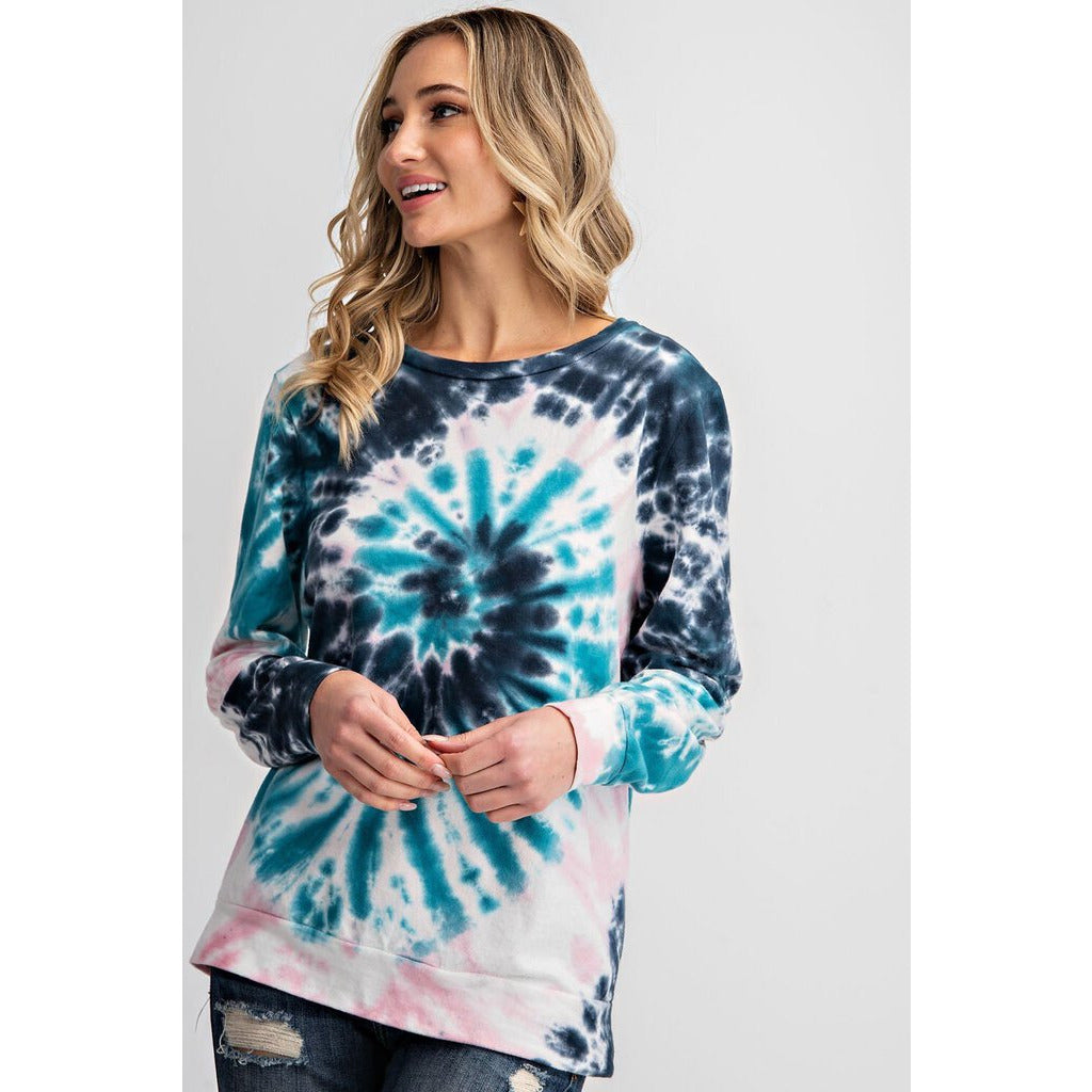 Turquoise, Pink, & Navy Tie Dye Top M