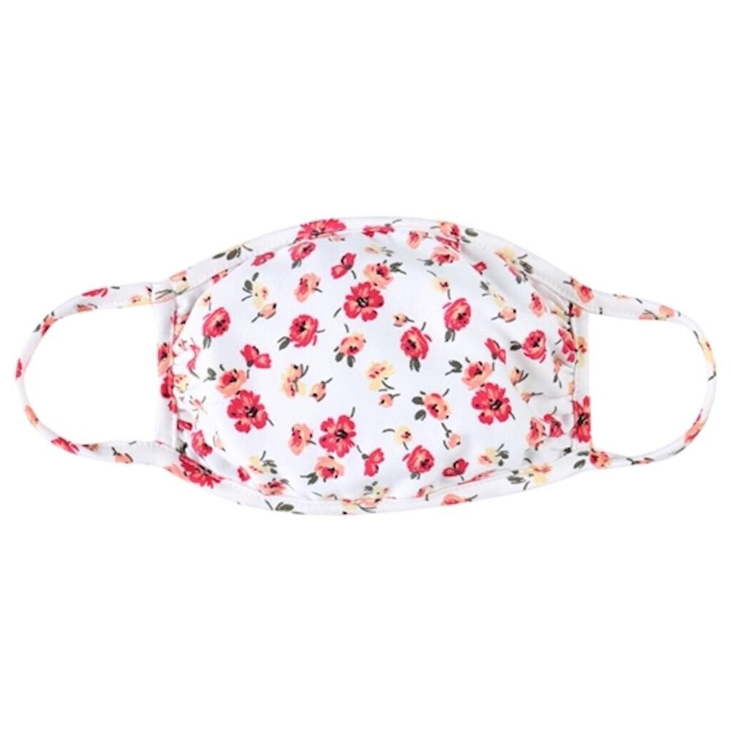Face Mask-White w/Red  Coral Floral-ADULT