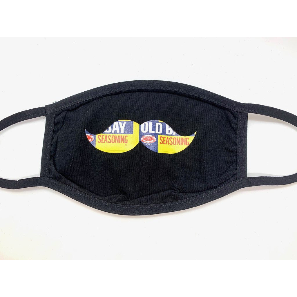 Face Mask-Black with Old Bay Mustache-Adult