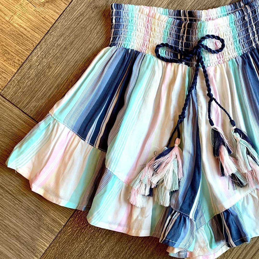 Maldives Printed Striped Ruffle Short with Tassel-S