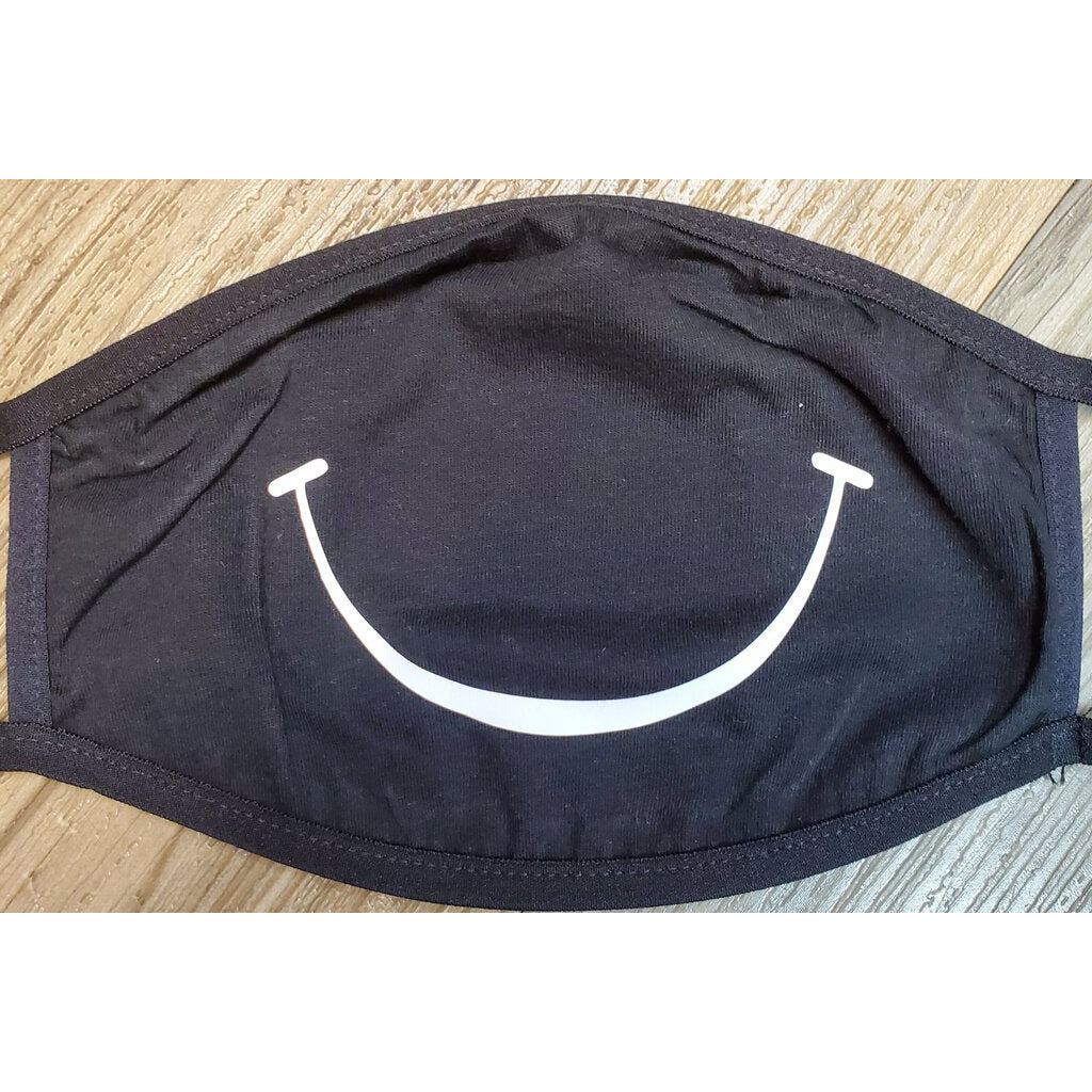 Face Mask-Black with Smile-ADULT