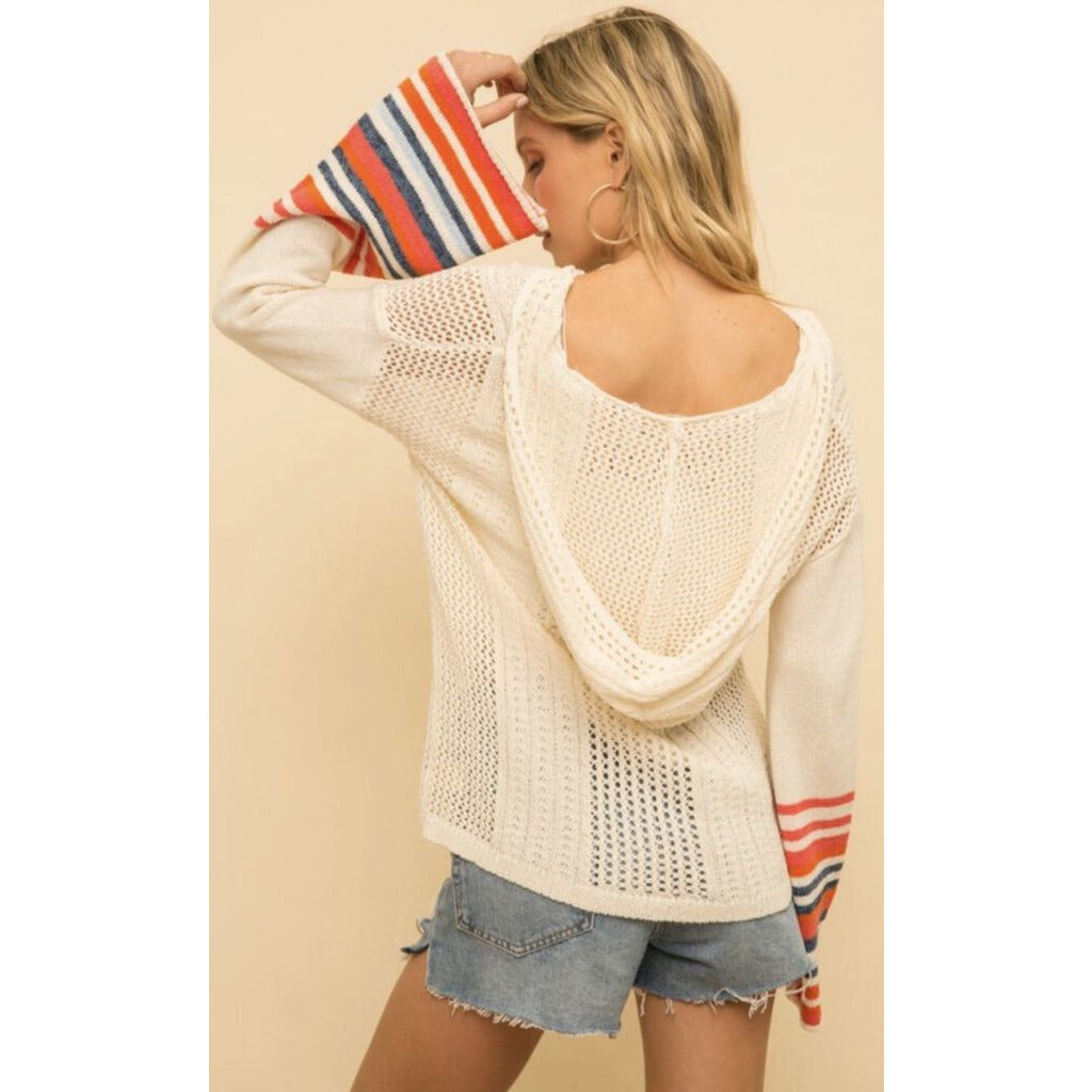 Wide Striped Sleeve Hoodie Sweater-L