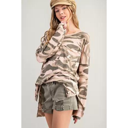 Vintage Camo Top with Big Pocket