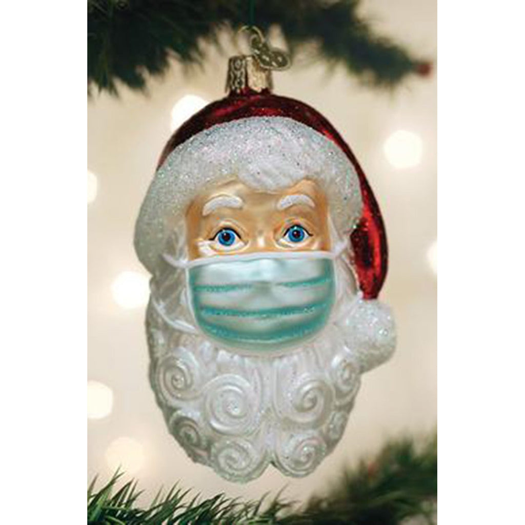 Santa with Face Mask Ornament-Estimated Arrival is 12/4/20