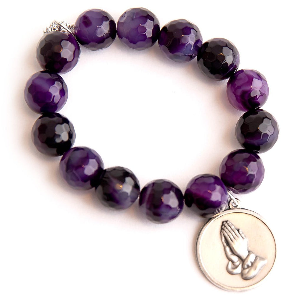 Faceted Purple Striped Agate with Serenity Prayer Medal