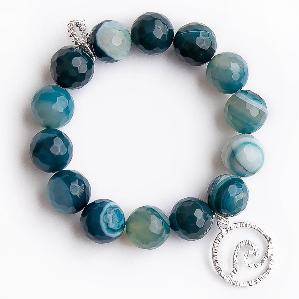 Faceted Teal Agate with Silver Wave