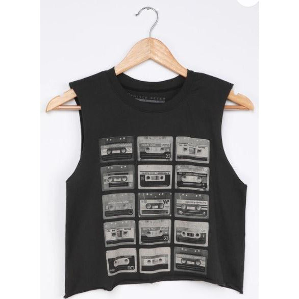 Sue Cassette Tape Muscle Top