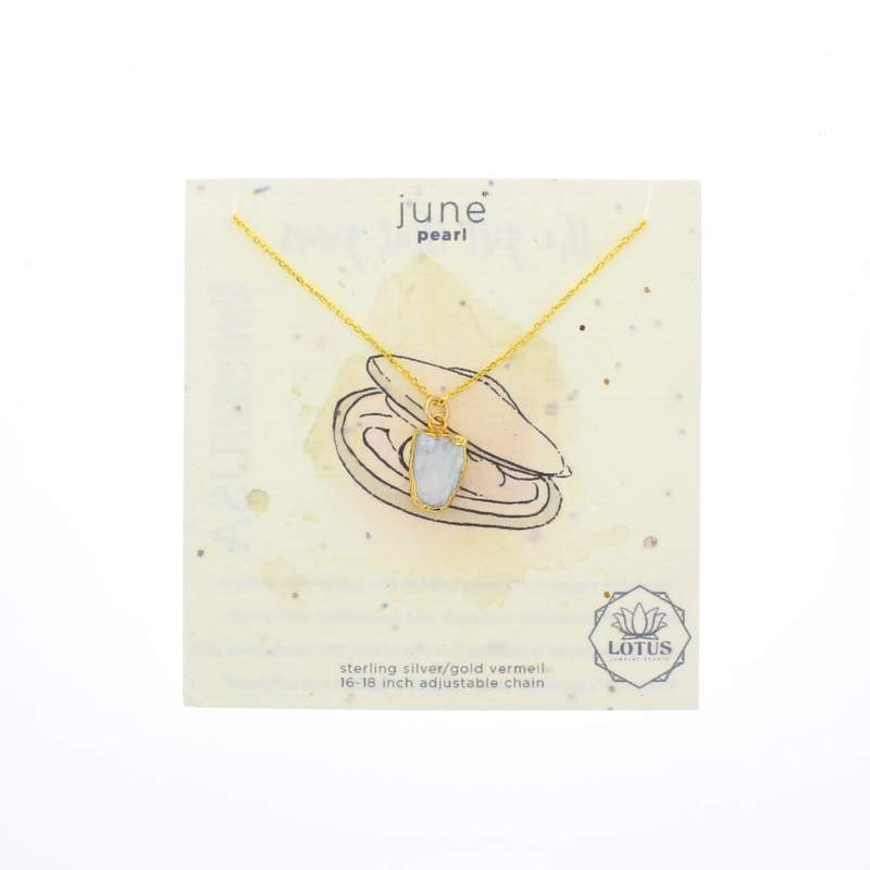 Lotus Gold Birthstone Mineral Necklace