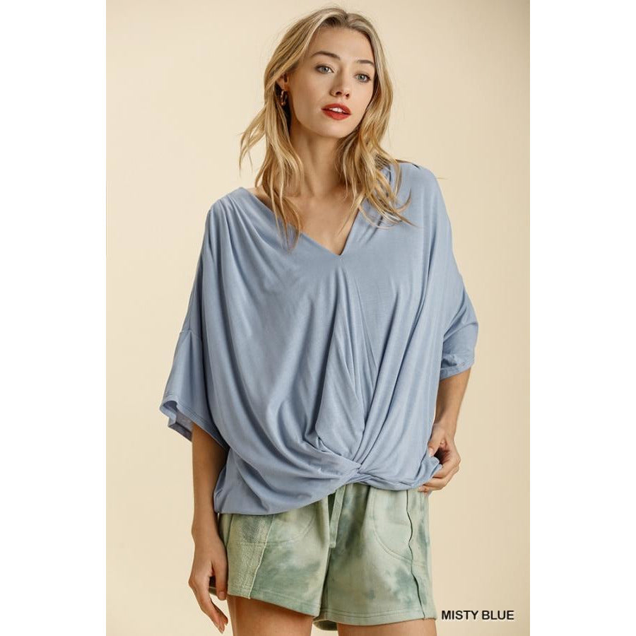 Linda Short Bell Sleeve Basic V-Neck Top with Gathered Front Detail