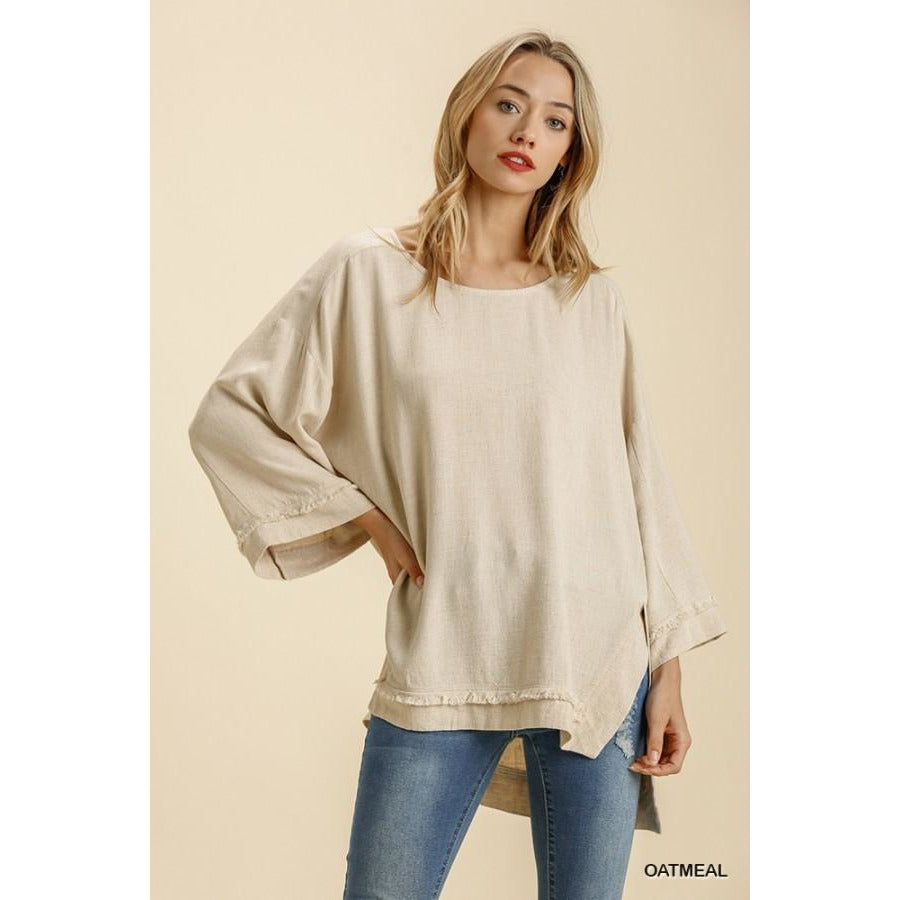 Vanessa Long Sleeve Frayed Edge Top
