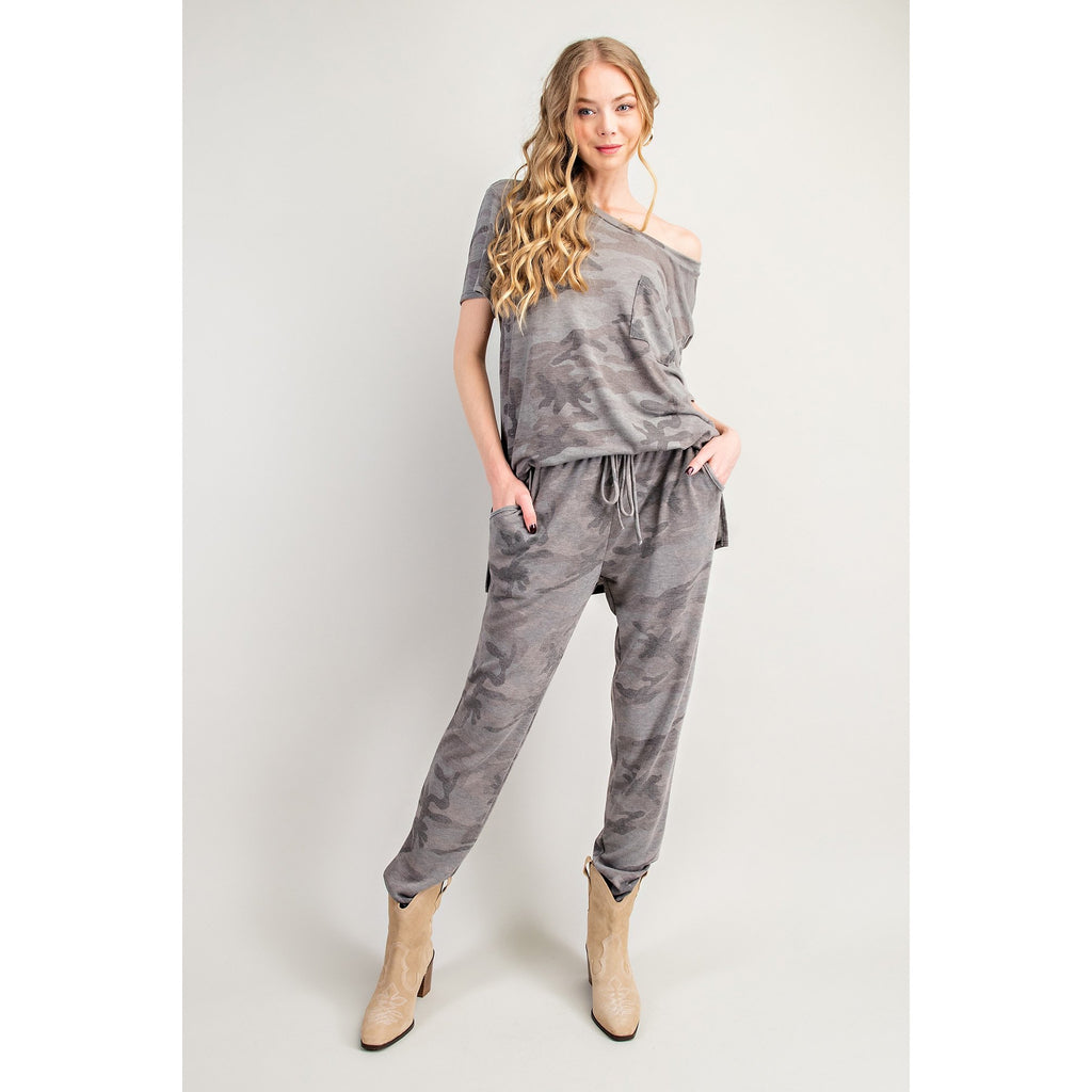 Camouflage Print Joggers with Pockets