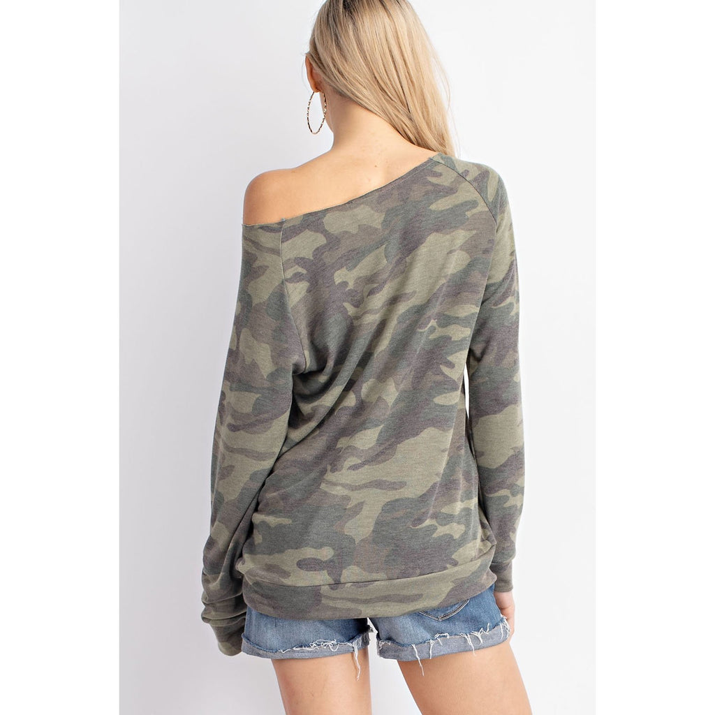 Camouflage Wide Neck Top