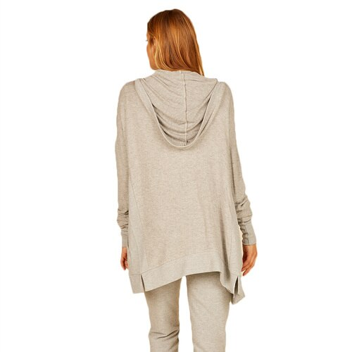 Light Grey Hacci Side Rib Hoodie Cardigan